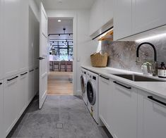 Hayden and Sara Challenge apartment Laundry reveal The Block 2018 Modern Laundry Rooms, Laundry In Bathroom, The Block Kitchen, The Block Bathroom, The Block Australia, Image Deco, Beige Couch, Laundry Room Inspiration, Laundry Room Design