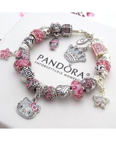 57bbceb53 Authentic PANDORA Silver Bracelet With Charms Pink Hello Kitty Princess  Heart Sale - $32.89 - Disney