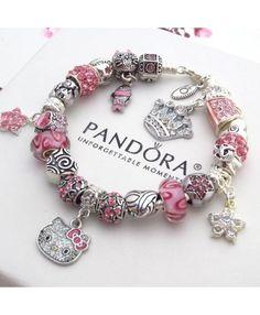 dc6ddea4808 Authentic PANDORA Silver Bracelet With Charms Pink Hello Kitty Princess Heart  Sale - $32.89 - Disney