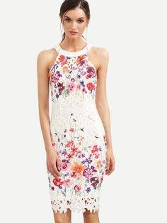 bdcdc37831 Multicolor Floral Cutout Back Sleeveless Sheath Dress EmmaCloth-Women Fast  Fashion Online
