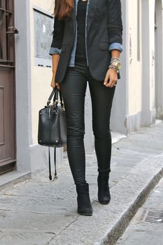 All black with a touch of chambrayj  Leather leggings black t shirt chambray blazer