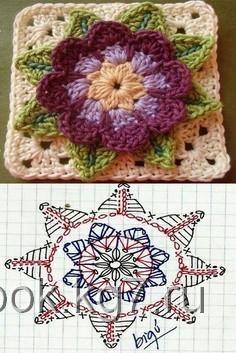 Granny square pattern afghan with Crochet Motif Patterns, Granny Square Crochet Pattern, Crochet Blocks, Crochet Mandala, Crochet Diagram, Crochet Chart, Crochet Squares, Crochet Granny, Crochet Flowers