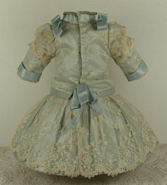 Wonderful Antique Aqua Silk Satin French Bebe Costume for Jumeau, Bru, Steiner other French Bebe