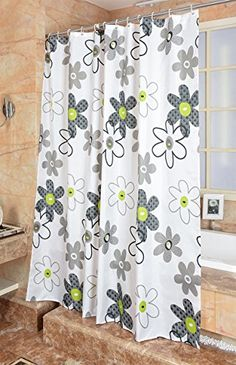 Uforme Modern Extra Long Shower Curtain Polyester Waterproof and Mildew Resistant Elegant Drape Bathroom Curtains Blossom Flower Pattern Design Multicolor Grey Lime 72 x 78 >>> See this great product. Note:It is Affiliate Link to Amazon.