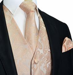 Pale Coral Paisley Tuxedo Vest Set