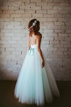 Mint Deco Inspired Geometric Hand Pleated Sweetheart Floor Length Tulle Wedding Gown