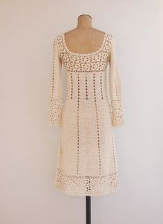 Rosemary Dress Vintage 1970s Crochet Dress by GoldenCraneVintage