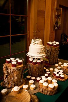 Bring the outdoors in by using rustic stumps in varying heights as dessert displays.