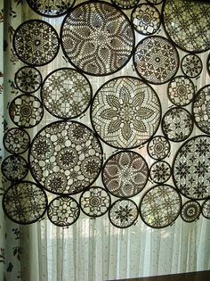 "Awesome panel made with ""embroidery hoop crochet motifs"" {by woolly  fabulous, via Flickr}"