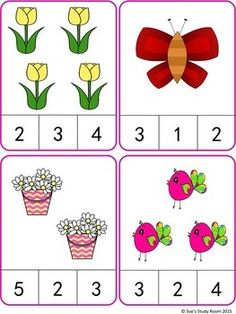 tavaszi -számláló Spring Count and Clip Cards: Numbers Kindergarten Math Worksheets, Preschool Learning Activities, Preschool Printables, Preschool Activities, Kids Learning, Numbers Preschool, Math Numbers, Montessori Math, Math For Kids