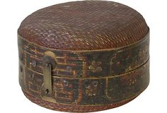 Antique Chinese Hat Box 1800's