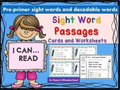 """This """"Sight Words Passages for Reading Intervention"""" is a comprehensive packet that will help your little readers recognize and read the pre-primer sight words in the context of a passage.The cards will look best in color, but will also print out fine in gray scale .You can laminate them,if you wish.Suggestion:If you don't print the cards in color, you may want to ask the kids to find and color the """"target"""" words in the passages.The packet includes sight word passages in two formats:*24 ..."""