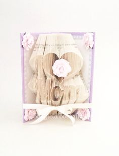 Mother's Day Gift I Heart Love Mom Book Folded Art in lilac with flowers Mother's Day Birthday Special Occasion