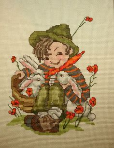 """Playmates"" a Hummel cross stitch design."