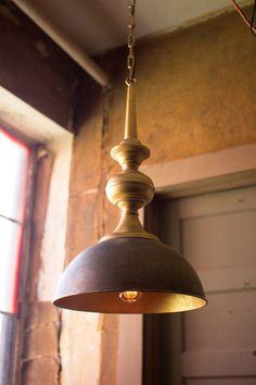 Metal Pendant Light, Antique Gold Finish