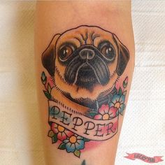 Pepper the pug - arm pug tattoo on @pepper_pug www.luckypug.com #Luckypug #luckypugtattoos #pugtattoo