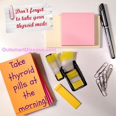 Many #hypothyroidism and #hashimotos patients have memory issues as one of #thyroid symptoms. This can be more profound at the morning when you are trying to wake up and may forget to take your thyroid meds. Here are some tips on how NOT to forget to take your thyroid medication http://outsmartdisease.com/thyroid-medication-tips