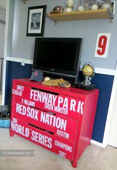 Red Sox Baseball Dresser {Ikea Hack} via Chase the Star #dresser #furniture #DIY #redsox #ikeahack