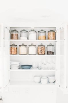 KITCHEN REMODEL: updating from a dark, small, enclosed space to an open, light, white and grey kitchen. Small Pantry Organization, Kitchen Remodel, Kitchen Remodel Small, Kitchen Cupboards, Trendy Kitchen, Home Kitchens, Kitchen Storage Organization, Minimalist Kitchen, Kitchen Organization Pantry