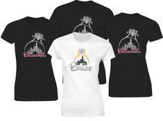 Disney inspired wedding Bride and Bridesmaids t-shirts with glitter castle and diamond ring. by iganiDesign on Etsy