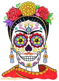 © 2014 Thaneeya McArdle This sugar skull was inspired by the Mexican artist Frida Kahlo. This is a page from my Day of the Dead Coloring Book that I colored in using markers and colored pencils. Mexican Artists, Mexican Folk Art, La Muerte Tattoo, Tattoo Crane, Art Du Monde, Sugar Skull Art, Sugar Skulls, Sugar Skull Painting, Body Painting