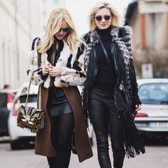 The beautiful Shea Marie and Caroline Vreeland spotted around the city during the last #MFW both wearing #JustCavalliFW15 jackets. Photo via Instagram by @theurbanspotter #CavalliCrew