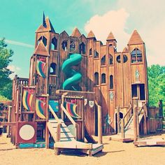 Week 2 of playgrounds around the world: We love this Kid's Castle playground in Pennsylvania. This wooden playground is completely community funded and wouldn't be possible without all of the volunteer work, donations and community involvement--how cool! #playground #castle #kidscastle #natural #wooden #homemade #DIY #volunteer #community #worktogether
