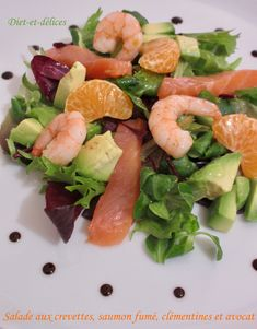 Salat mit Garnelen, Räucherlachs, Clementinen und Avocado: Diet & Délices - R . Shrimp Recipes, Salad Recipes, Diet Recipes, Cooking Recipes, Healthy Recipes, Healthy Cooking, Healthy Eating, Fried Scallops, Mozzarella Pasta