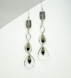 Wire Wrapped Earrings/ Sterling Silver by LLDArtisticJewelry, $40.00