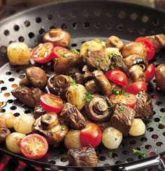 Grilled Veggie and Steak Appetizer Beef bites and three kinds of vegetables quickly cook in a grill basket for a hot and hearty appetizer in 30 minutes.