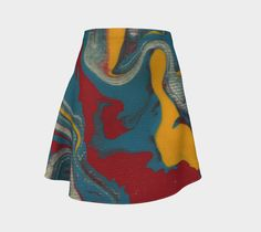 Flow abstract flare skirt, wearable art, printed skirt, knit fabric, artist design, made to order, hand sewn, sweatshop free, women's skirt by paperwerks on Etsy #etsy