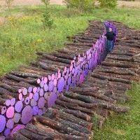Michael McGillis Displays Wake: Purple Painted Logs