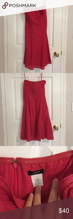 J.Crew strapless red cotton dress sz 2 Beautiful red strapless cotton JCrew dress size 2 with pebble texture. (Straps in picture are to hang the dress). Very lightweight and perfect for spring/summer weddings. Has lovely flowing hemline J. Crew Dresses Mini