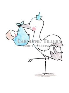 Storch Queen/KingKinderzimmer Kunst Illustration von ohhellodear