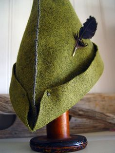Peter Pan DIY hat idea! A big felt triangle folded up. Think my niece would like this:-)