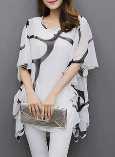 e271b67b9af TS Women s Flare Sleeve Casual Daily Plus Size Summer Blouse