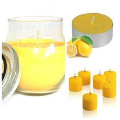 #Lemon #ScentedCandles Collection. Glass #jarcandle  #scentedvotivecandles  #scentedtealights #homefragrance