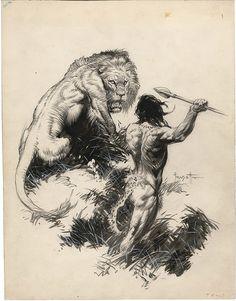 Tarzán y el León Dorado por Frank Frazetta