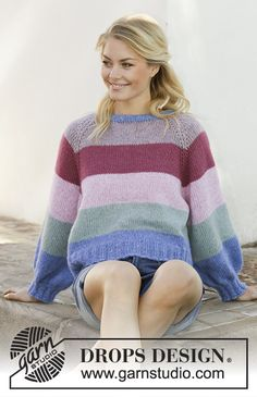 Sweet Country Sunrise - Knitted jumper with stripes, balloon sleeves and raglan. Piece is worked in DROPS Air, top down. Size: S - XXXL Free knitted pattern DROPS Sweater Knitting Patterns, Knit Patterns, Free Knitting, Baby Knitting, Drops Design, Magazine Drops, Yarn Brands, Purple Haze, Raglan