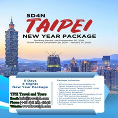 5 DAYS TAIPEI NEW YEAR PACKAGE (Land Arrangement Only) Minimum of 2 persons  For more inquiries please call: Landline: (+63 2) 8 282-6848 Mobile: (+63) 918-238-9506 or Email us: info@travelph.com #Taipei #Taiwan #TravelPH #TravelWithNoWorries New Year Packages, Taipei Taiwan, Packaging, The Unit, News, Day, Travel, Viajes, Destinations
