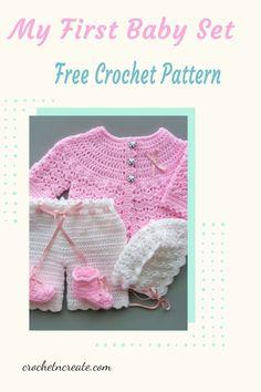 Beautiful free my first baby set crochet pattern on crochetncreate. Baby Patterns, Stitch Patterns, Crochet Patterns, Crochet Sweaters, Baby Sweaters, All Free Crochet, Crochet Baby Clothes, Little Designs, Baby Set