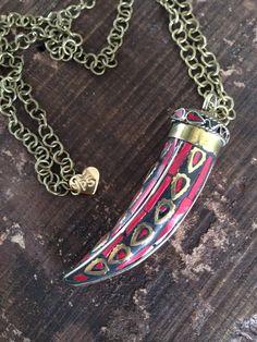 Tibetan Horn Pendant #style #horn #boho #accessories