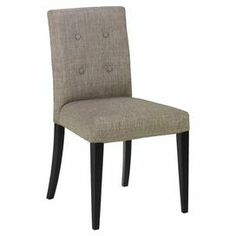 "Set of 2 tufted Parsons side chairs. Product: Set of 2 chairs    Construction Material: Wood and fabric    Color: Gray and black   Features:     Tufted back  Comfortable, stylish and relaxing         Dimensions: 35"" H x 16.5"" W x 18"" D each"