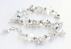 Crystal Silver Cluster Bracelet with Swarovski helix crystals and sterling silver. By OpheliasJewels, $60.00