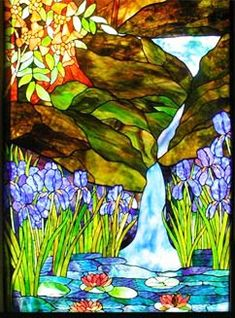 Stained glass landscape with waterfall window by Jack McCoy©