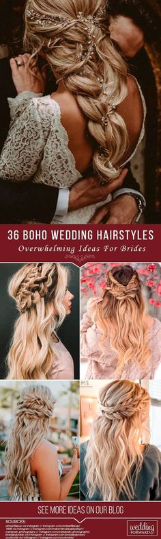 36 Overwhelming Boho Wedding Hairstyles ❤️ Here you will find a plethora of boho wedding hairstyles for any tastes, starting with elegant braided updos and ending with some creative solutions. See more: http://www.weddingforward.com/boho-wedding-hairstyles/ #BeautifulWeddingHairStyles