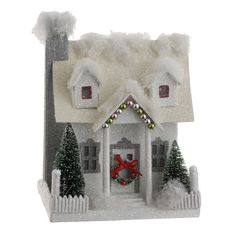 Putz Paper House Vintage Style 7 in Red w Bottle Brush Trees SS 3000540 RAZ New | eBay