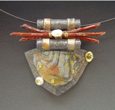 Pendant | Doe Cross. Handmade paper with pearls,wood,and beads