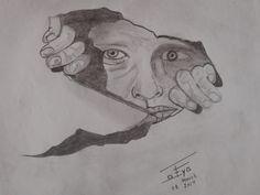 Man behind the wall. http://drawingbazar.blogspot.in/