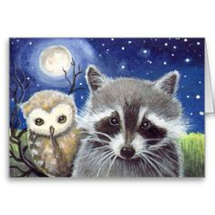 raccoon paintings | Cute Raccoon and Owl Fantasy Art Greeting Card from Zazzle.com